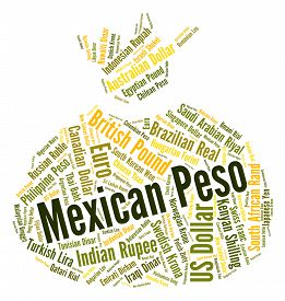 stock photo of pesos  - Mexican Peso Representing Mexico Pesos And Exchange - JPG