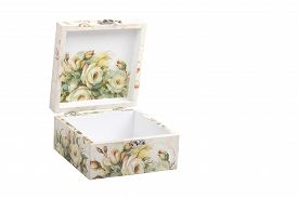 picture of decoupage  - floral pattern box decorated with decoupage paper handmade - JPG