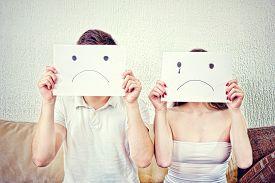 image of sad  - Sad young couple - JPG