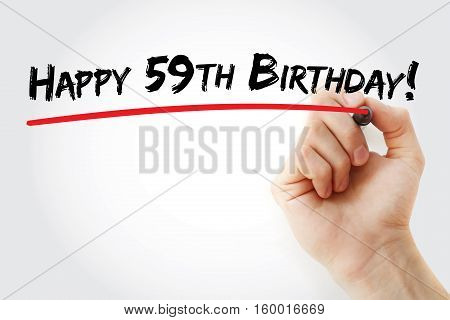 Hand Writing Happy 59Th Birthday
