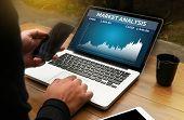 Man Analysis The Market On Computer Market Analysis,  Business Team Investment Entrepreneur Trading poster