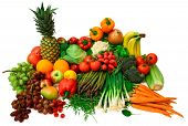 picture of vegetable food fruit  - This is a wide variety of fresh vegetables and fruits - JPG
