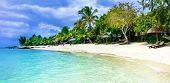 Serene tropical vacation. Beautiful beaches of Mauritius island poster