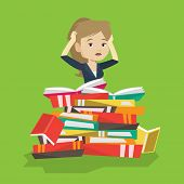 Постер, плакат: Caucasian student sitting in huge pile of books Exhausted student preparing for exam with books St