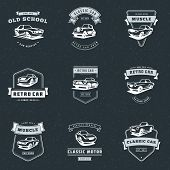 Set Of Classic Car Logo, Emblems, Badges. Service Car Repair, Car Restoration And Car Club Design El poster