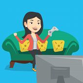Happy gamer playing video game. An excited young woman with console in hands playing video game at h poster
