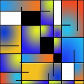 Seamless repeatable Mondrian style painting pattern poster