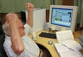 foto of business-office  - Frustrated Senior at Computer - JPG