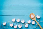 Pink Heart Shape Marshmallow For Love Theme And Valentine Background Concept. Pile Of Heart. Romance poster