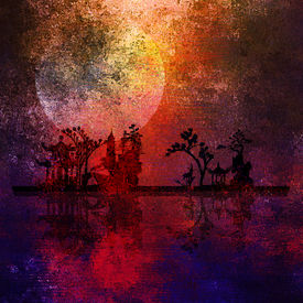 pic of fantasy landscape  - Asia Landscape Textured Painting - JPG
