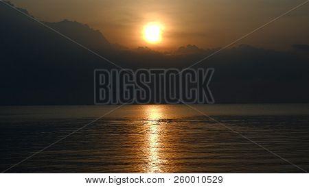 poster of Sunset. Beautiful Sunset Baltic Sea. Sunset With Background Sunset. Painting Sea Sunset. The Sea At