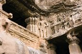 stock photo of ellora  - Detail of ancient Ellora rock carved Buddhist temple - JPG