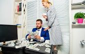 Bank Assistant Lady Offers Plastic Card. Credit Loan And Cash Concept. Businessman With Cash Client  poster