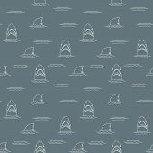 Shark Seamless Pattern, Hand Drawn Sketched Doodle Shark, Vector Illustration. poster