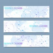 Vector Banners Set Hi-tech Digital Technology And Engineering Background. Digital Telecom Technology poster