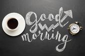 A White Cup Of Coffee With An Alarm Clock And An Inscription Good Morning. Concept Of A Cheerful And poster