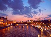 View From The Bridge To The Kremlin, Moscow River And Moscow City. Panorama At Sunset, Moscow, Russi poster