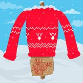 Ugly Christmas Sweater Party Invitation Card Template. Vector Illustration Of Christmas Sweater On A poster