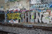 Graffiti On Tunnel Wall Near Railroad