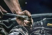 Auto Mechanic Working In Garage. Repair Service. poster