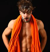 Body Care. Macho Attractive Nude Guy Black Background. Man Bearded Tousled Hair Covered With Foam Or poster