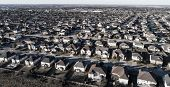 Round Rock Suburbia Curved Street On Neighborhood Layout Urban Development Aerial Drone View High Ab poster