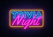 Trivia Night Neon Sign Vector. Quiz Time Design Template Neon Sign, Light Banner, Neon Signboard, Ni poster
