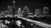 Night Time In Austin , Texas , Usa Black And White Of The Austin Texas Skyline Cityscape Downtown Ic poster