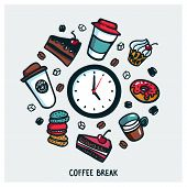 Coffee Break Concept. Time For A Coffee Break. Colorful Doodle Style Cartoon Set Of Objects And Symb poster