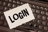 Word Writing Text Login. Business Concept For Entering Website Blog Using Username And Password Regi poster