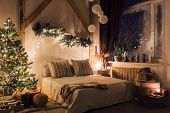 Warm And Cozy Evening In Living Room. Sofa Bed In Christmas Interior. Concept The New Year And Holid poster