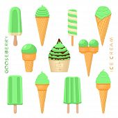 Vector Illustration For Natural Gooseberry Ice Cream On Stick, In Paper Bowls, Wafer Cones. Ice Crea poster