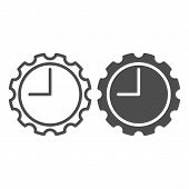 Watch With Gear Line And Glyph Icon. Clock With Cogwheel Vector Illustration Isolated On White. Mech poster
