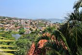 Buzios, Vacation Town In Brazil. Townscape With Palm Tree. poster