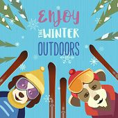 Season Motivation Quote Enjoy Winter Outdoors.. Cute Comic Dogs In Sport Hats, Glasses With Mountain poster