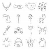 Doll Princess Items Icons Set. Outline Illustration Of 16 Doll Princess Items Icons For Web poster