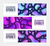 Set Of Modern Web Banner Templates With Psychedelic Texture, Bright Colored Bubbles And Place For Te poster