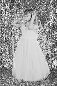 Look, Hairdresser, Makeup. Child Girl In Stylish Glamour Dress, Elegance. Little Girl In Fashionable poster