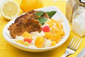 Caribbean style spicy pork loin chops with tropical fruit poster