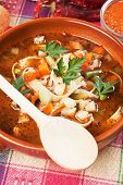 stock photo of vegetable soup  - Bowl of minestrone vegetable soup with peas - JPG