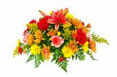image of centerpiece  - Colorful flower bouquet arrangement centerpiece isolated on white - JPG