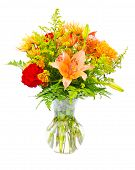 stock photo of flower arrangement  - Colorful flower bouquet arrangement centerpiece in vase isolated on white - JPG