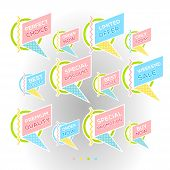Set Of Minimalist Graphic Sale Stickers In Pale Colors. Circles And Lines Multicolor On White Backgr poster
