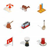 Turkish Cultural Icons Set. Isometric 3d Illustration Of 9 Turkish Cultural Icons For Web poster