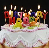 picture of birthday-cake  - Birthday  cake  and candels - JPG