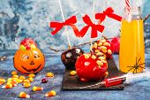 Halloween Candy Bar For Kids With Creepy Party Drinks In Syringe, Caramelized Apples And Selection O poster