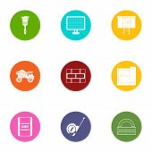 Construction Object Icons Set. Flat Set Of 9 Construction Object Vector Icons For Web Isolated On Wh poster