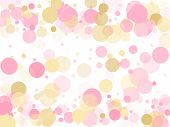 Rose Gold Confetti Circle Decoration For Party Invitation Card. Holiday Vector Decor. Gold, Pink And poster