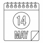 Calendar With The Date 14th May Icon. Outline Illustration Of Calendar With The Date 14th May Icon F poster