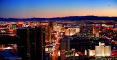 LAS VEGAS - MAR 4: Vegas Strip, 3.8 mile stretch featured with world class hotels and casino, aerial